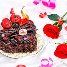 Death By Chocolate Cake 500 gms And Two Red Roses