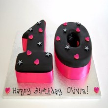 Pink and Black Ten Cake NMC05