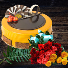 Caramel Chocolate Half kg Cake with 15 Mix Roses