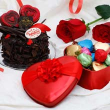 Death By Chocolate Cake 250 gms With Valentine Spl Chocolates And Two Red Roses