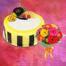 99 Off Pineapple Half Kg Cake With 8 Mix Gerbera Bouquet