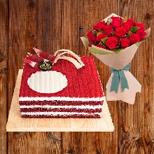 Red Velvette Half Kg Cake With Bouquet of 12 Red Roses
