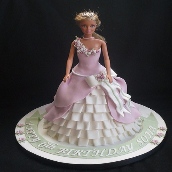 Pink Fondant Frill Gown Cake DC9